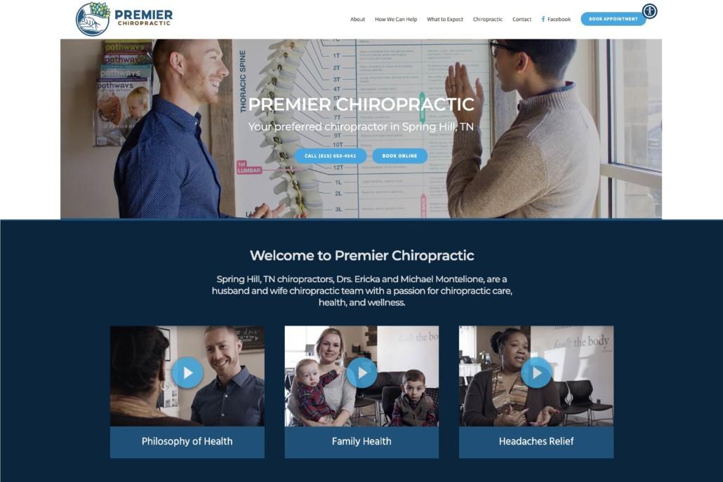 chiropractic website design premiere chiro